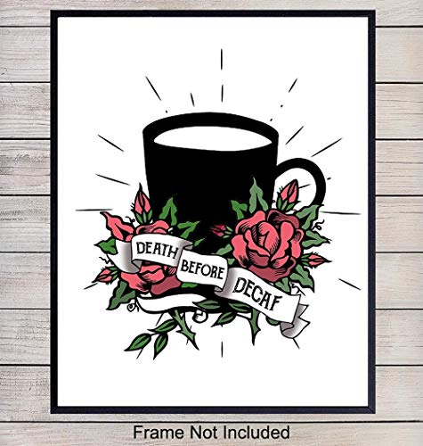 Kitchen Wall Art Print – 8x10 Java, Espresso, Coffee Wall Art Poster, Kitchen Decor – Office, Cafe, Restaurant Decoration – Unframed Photo Picture – Funny Decaf
