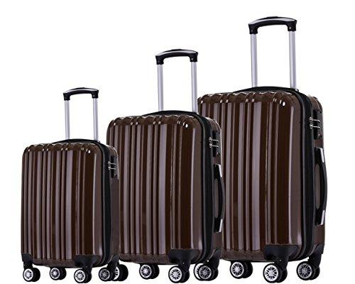 Münicase TSA-Schloß Koffer Reisekoffer Trolley Kofferset (Coffee, 3tlg. Kofferset)