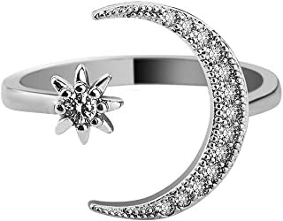 Crescent Moon Ring Gold Plated CZ Star Moon Adjustable...