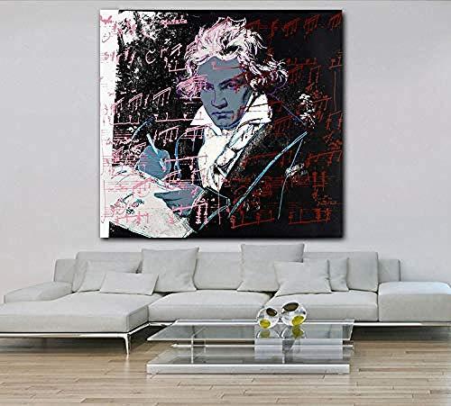 XQWZM Leinwand Malerei Hd Poster, Beethoven Von Andy Warhol Moderne Wandkunst Bild, Für Zuhause Wohnzimmer Schlafzimmer Dekor 50 * 50 cm Ohne Rahmen