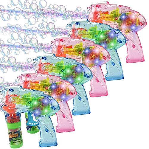 Liberty Imports Pack of 6 - Wind Up Bubble Gun Shooter Light Up LED Blowers with Bottle Solutions Included - Kids Bulk Indoor Outdoor Toy Party Favors Gifts - No Batteries Required (Fish)
