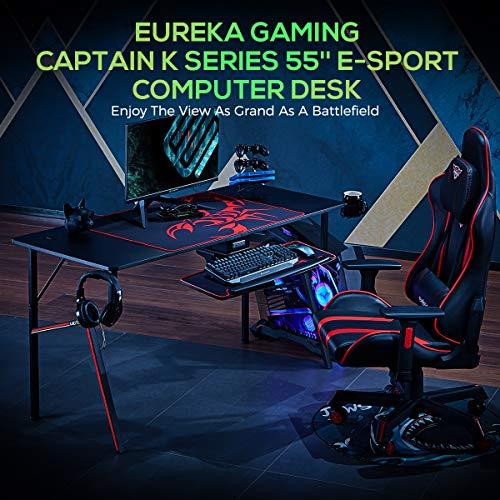 EUREKA ERGONOMIC Gaming Tisch K55 Gaming Schreibtisch Gaming Computertisch PC Schreibtisch mit Getränkehalter und Kopfhörerhalter 140 * 60 cm Schwarz 2