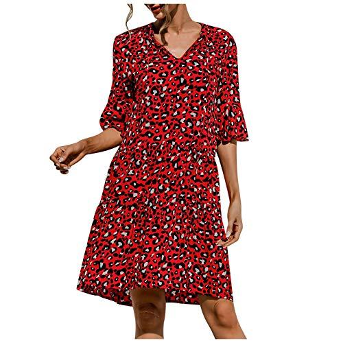YANFANG Vestido Verano,Vestido con Estampado De Leopardo Sexy Media Manga Cuello En V Y Moda para Mujer,Vestidos Ceremonia,Vestidos Mujer Verano,Amarillo,Rojo,Verde,S/M/L/XL/XXL
