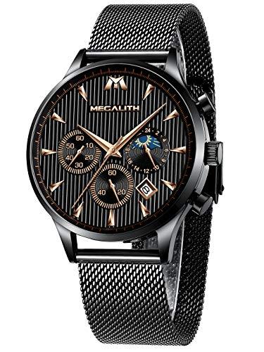 Relojes de Hombre Reloje Grandes de Pulsera Military Negro Cronógrafo Impermeable Acero Inoxidable Reloj para Hombres Calendario Analógico