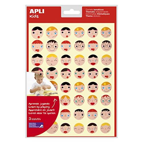 APLI Kids 18770 - Bolsa de 144 gomets con caras de Emociones en 2 tamaños, adhesivo removible, 3 hojas