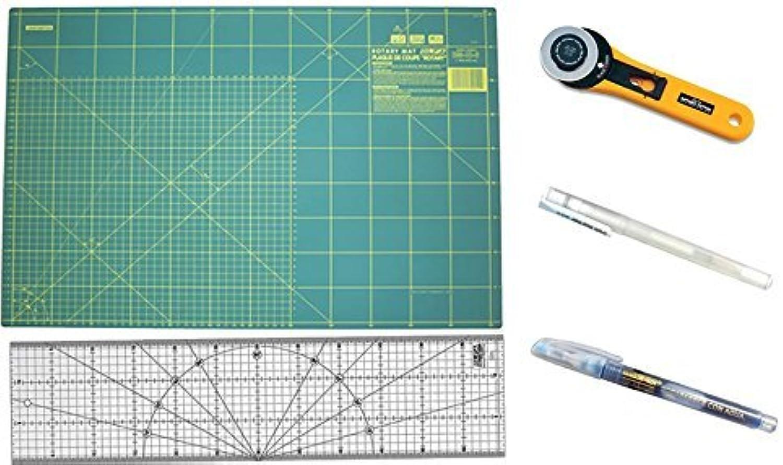Olfa Patchwork-Set, Schneidplatte 60 x 45 cm, Patchwork-Lineal 15 x 60 cm, 45-mm-Schneider, Stoffmarker für helle Stoffe und für dunkle Stoffe B00ZN9QEH6     | Smart