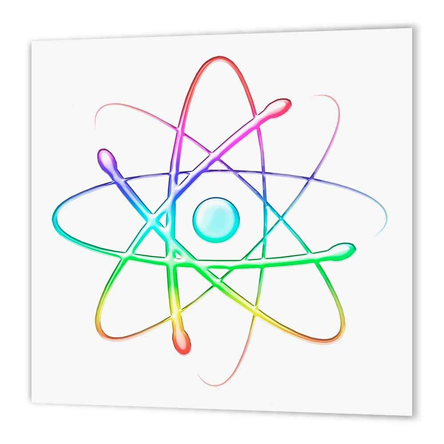 3dRose ht_41765_3 Rainbow Atom Symbol-Iron on Heat Transfer Paper for White Material, 10 by 10-Inch