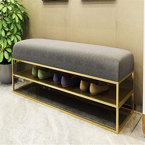FTFTO Office Life Foot Stool Ottoman Nordic Long Stool Home Sofa Shoe Cabinet Wrought Iron Shoe Changing Stool Shoe Stool Living Room Bench (Color : Gray, Size : 80x35x45cm)