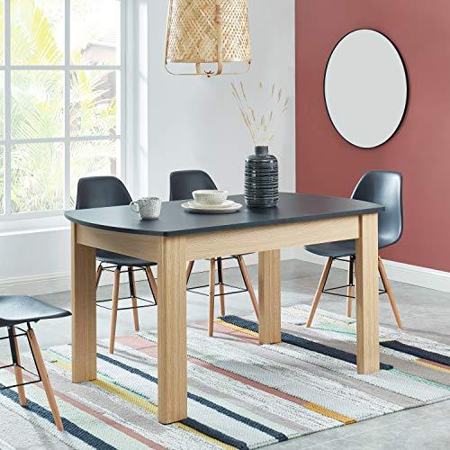 BAÏTA DAVIA140CH Table à Manger, Noir et Bois, 140cm