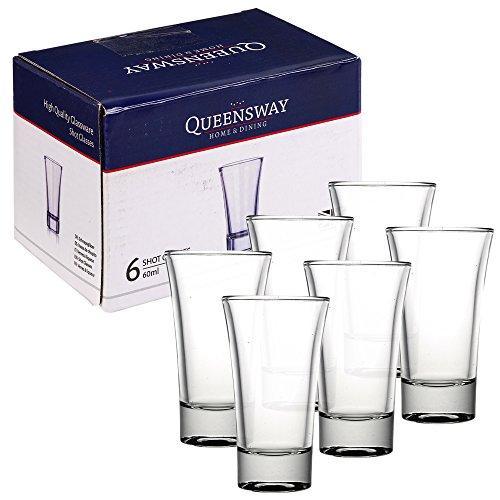 Queensway – 60ml Schnapsgläser, geeignet für Whiskey, Wodka, Tequila und andere alkoholische Spirituosen, 6 Shot Glasses