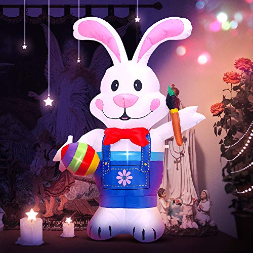 DomKom 6FT Easter Inflatables Bunny Holding Paintbrush and Egg, Blow up Doll Easter Decorations LED Lights,Funny Giant Inflatables Rabbit, Outdoor Holiday Clearance Decor,Layout Yard Garden Lawn