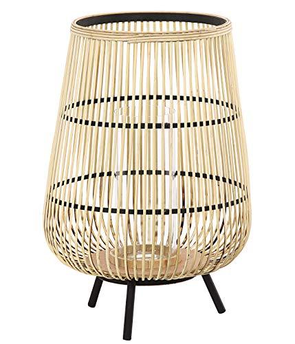 Dehner Bambus-Laterne Alicia, Ø 42 cm, Höhe 60.5 cm, Bambus/Glas/Metall, beige/schwarz
