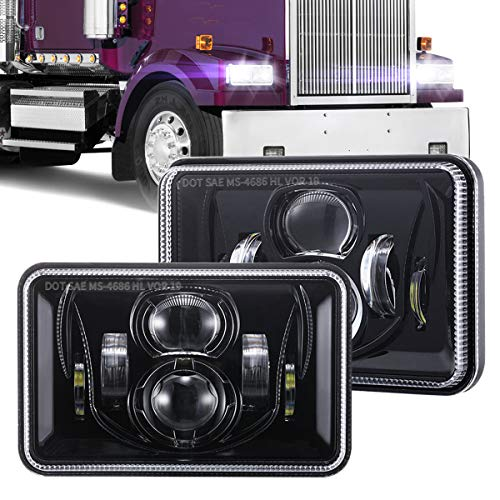 1 Pair 4x6 Inch LED Headlights 60W High Low Beam H4651 H4652 H4656...