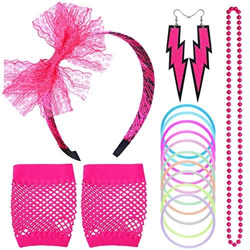 NATUCE 80s Disfraz de Disfraces para Mujeres niñas Adultos con Collares de...