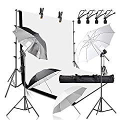 The kit includes: 1* backdrop stand, 2* 6 x 9ft muslin backdrop(white and black), 2* spring clamp , 2*45w bulb, 2* light stand, 2* soft umbrella, 4*background clip, 2*lamp holder, 1* portable carry bag BACKDROP STAND: aluminum alloy construction for ...
