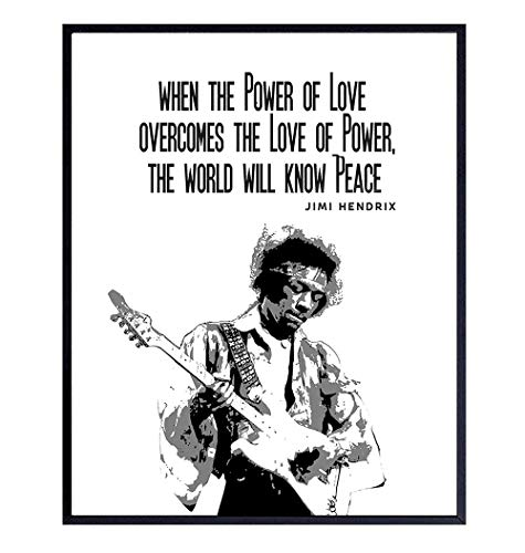 Jimi Hendrix Poster,- Inspirational Wall Art Print - Graffiti Street Art, Urban Home or Wall Decor - Gift for 60's Music, Woodstock Fans, Guitarists, Musicians - 8x10 Quote Photo Picture