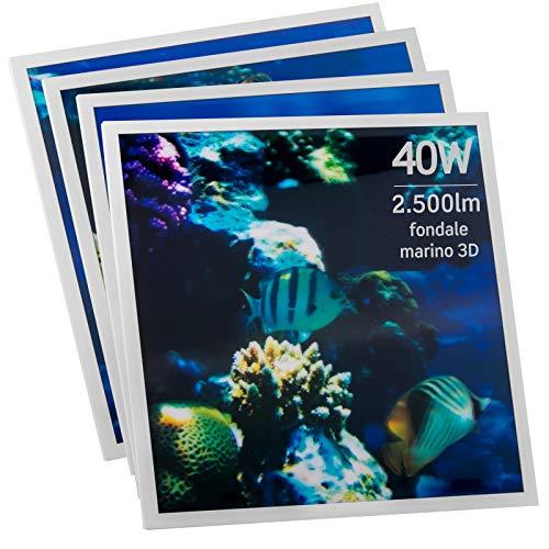 6x Pannelli LED 2in1 Incasso o Sospensione 40W 60x60cm Bianco Freddo 6500K Fascio Luminoso 120° - Eurocali