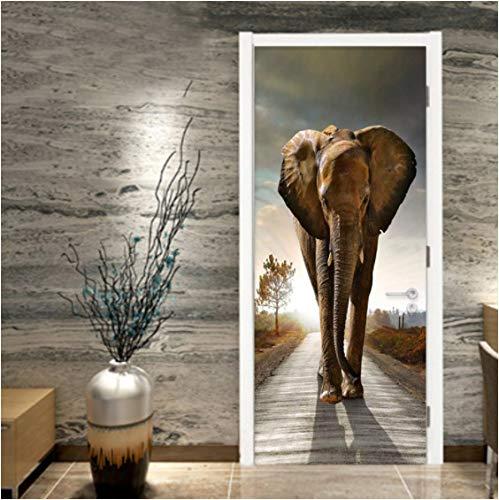 ZPCR Papel Pintado de PVC 3D estéreo Elefante Foto murales de Pared Sala de Estar Dormitorio Estudio Puerta Pegatina decoración del hogar Papel de Pared Autoadhesivo 3D