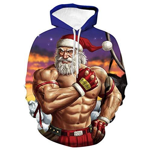 Simmia home Sweat à Capuche 3D Imprimer Pull Sweatshirt,Loose Couple Shirt, Costume de Baseball, Muscle Santa, 2XL,Décontracté Pullover pour Garçon Fille Ado