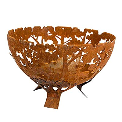 HOMESCAPES Brown Steel Fire Pit Circular Laser Cut Woodland Style Half Globe for Garden from Homescapes
