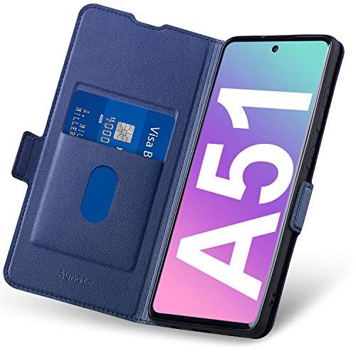 Funda Samsung Galaxy A51, Fundas A51 Libro, Carcasa Samsung A51 4G Cierre Magnético, Tarjetero y Suporte, Capa Plegable Cartera, Flip Phone Cover Case, Tipo Étui Piel, PU TPU Protección. Azul