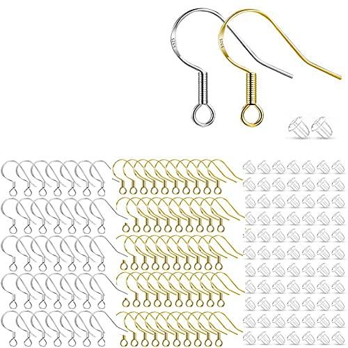 400 STÜCKE Ohrring Haken Ohrhaken Angelhaken Ohrring mit Federball Klare Ohrring Sicherheitsrückseiten DIY Ohrring Herstellung Zubehör (Splitter und Gold)
