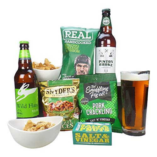 Craft Beer Hamper with Snacks, Craft Beer Gift Set and Food Hamper with Personalised Gift Card Message, Craft Beer Gift Hamper for Him and Her on Birthdays, Christmas, Anniversary, Thank You