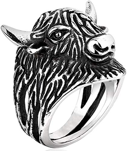 LAMUCH Men's 316L Stainless Steel Rings Vintage Gothic Tribal Punk Biker Bull Head Ring Silver Black US Size 7-13