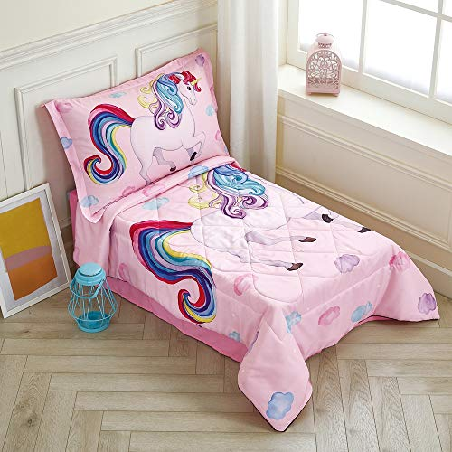 Wowelife Toddler Unicorn Bedding Sets for Girls Pink 4 Piece Rainbow Clounds Toddler Bed Sets for Girls(Pink Unicorn)