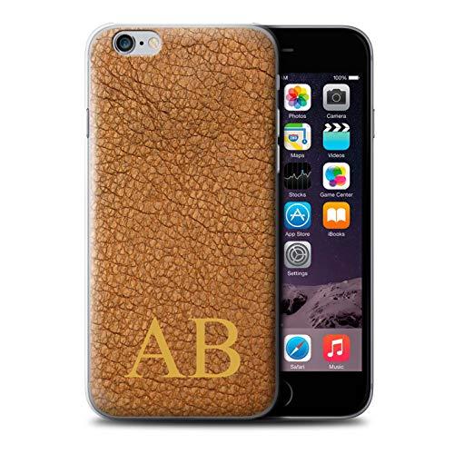 Stuff4® - Custodia per cellulare/cover/Skin/IP-CC/Custom Leather Effect Collection Cacao marrone monogramma. Apple iPhone 6S