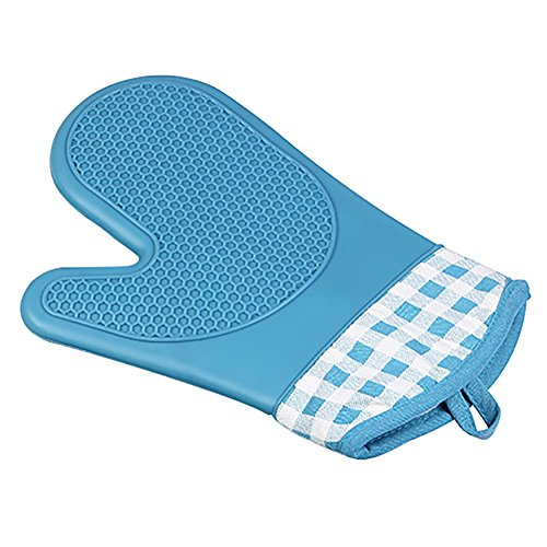 Silicone résistant à la chaleur four micro-ondes mitaines gants pour cuisine cuisson cuisson griller,bleu