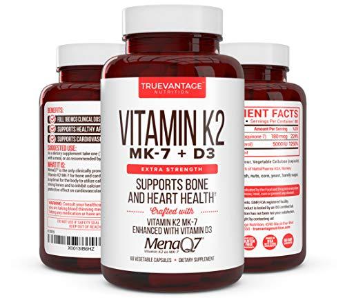 Premium Extra Strength Vitamin K2 180 mcg with D3 5000 IU – Vitamin D3 K2 MK7 Supplement for Healthy Bones, Healthy Heart & Cardiovascular Health- MenaQ7 Vitamin K Complex- 60 Capsules