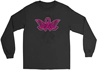 Butterfly Tattoo Pink Ribbon Breast Cancer Awareness Idea Long Sleeve