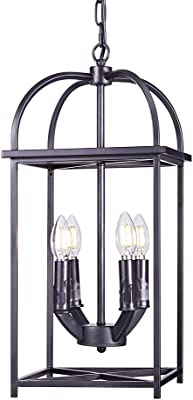 Wellmet Farmhouse Lantern Pendant Light Fixture for Dining Room, 4-Light Vintage Black Foyer Lighting Cage Chandelier, Indoor Industrial Ceiling Light, Matte Black Finish (Rectangle)