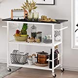 Hasuit 3 Tier Kitchen Cart Island on Wheels, Microwave Stand with Open Shelves, Rolling Storage Cart with Wood Tabletop and 6 Hooks, for Home Dining Room, Living Room (Classic)