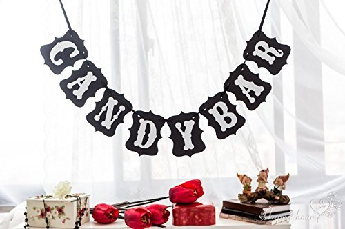 Black CANDY BAR Wedding Bunting Banner Photo Booth Props Party Garland Decoration Prop