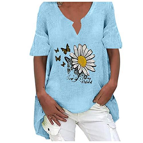Yowablo Blusen T-Shirt Damen Sommer Kurzarm V-Ausschnitte Loose Oversize Shirt Top Bluse Frauen Casual Butterflies Print Kurzarm Plus Size Baumwolle und Hanf Top Bluse ( M,4blau )
