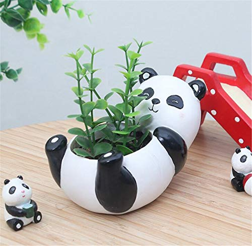 LEY Cute Animal Panda Shaped Cartoon Home Decoration Natural Resin Succulent Plant Vase Flower Pot,Panda