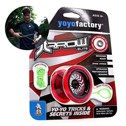 YoyoFactory Arrow Yo-Yo Mit Extra Kugellager Und Schnur - ROT (Vom Anfänger Zum Profi, Moderne Leistung YoYo, Metall Kugellager, Schnur und Anleitung Enthalten)