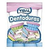 Vidal golosinas. Dentaduras. Las originales en diferentes colores: blancas, azules, verdes y amarillas. Bolsa 250 unidades
