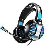 PHOINIKAS Gaming-Headset für Xbox One, PS4, PC, Gaming-Kopfhörer mit Mikrofon, LED-Licht, 7.1-Stereo-Sound, Geräuschunterdrückung, Weiche Ohrenschützer über Dem Ohr und Verstellbares Kopfband