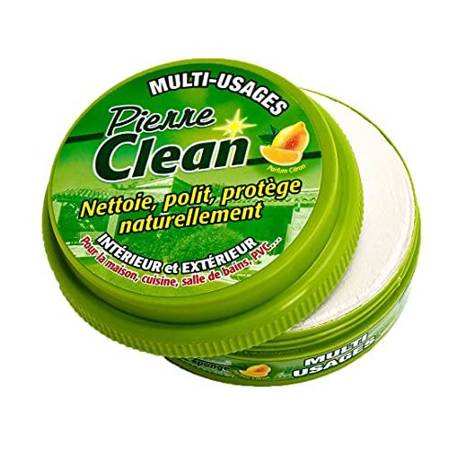 Pierre Clean 600G aroma limón con esponja–Producto a base de arcilla, appelé aussi Pierre rénovante o piedra de barro, que permite de limpiar, pulir, proteger NATURELLEMENT tu interior y exterior.