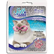 Soft Claws Feline Nail Caps - 40 Nail Caps and Adhesive for Cats (Pink Sparkle, Medium)