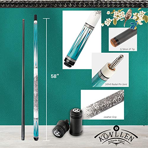 Carbon Fiber Pool Cue Stick Technology Low Deflection Billiard Cue ( 12.6-12.8mm Carbon Fiber Shaft, 4 Pieces of Carbon Tubes Inside Butt, Leather Handle, 3/88 Radial Pin Joint, Adjustable Weight)