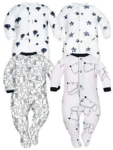 Sibinulo Śpioszki dla chłopców i dziewczynek, odzież dziecięca, zestaw w rozmiarach 0 do 24 miesięcy (9-24 z antypoślizgowymi), 4 sztuki w opakowaniu