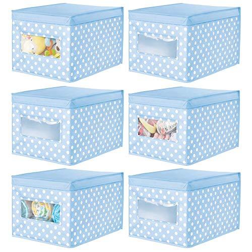 mDesign Juego de 6 Cajas de Tela de Lunares – Caja de almacenaje con Tapa abatible para habitación Infantil – Organizador Infantil apilable de Fibra sintética Transpirable – Azul Claro/Blanco