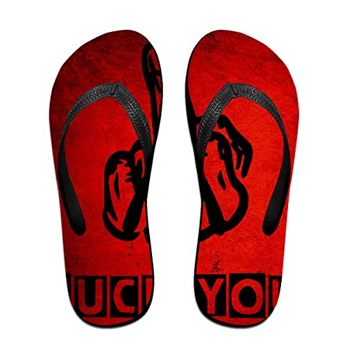 Iop 90p Fick Dich rote Vintage Flip Flops Hausschuhe Strand Sandalen Pool Schuhe