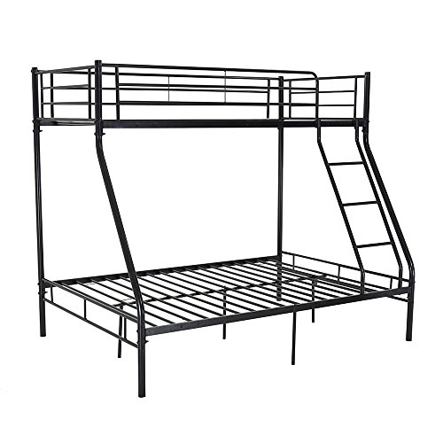 Triple Sleeper Metal Bunk Bed Single Double Triple 3 Person Metal Bed Frame (Black)