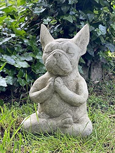 SHIHUNchuanmeng Meditating Sitting French, Bull Dog Ornament Figurines Ornament Statue Bulldogs Pedigree Dogs Decor Figurine Pet Sculpture Garden Patio Decorative