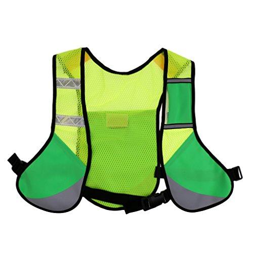 MagiDeal Gilet De Signalisation En Polyester Veste De Sécurtité Tissu Réflecteur Boucle Réglable - Vert, 38 cm